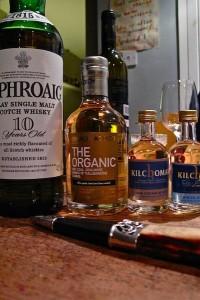 Four Islay malt whiskies