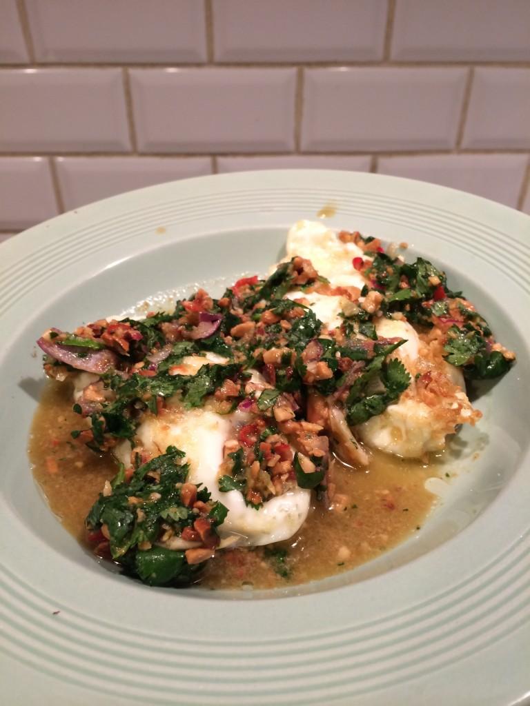 Deep Fried Eggs With Peanut Chilli Sauce